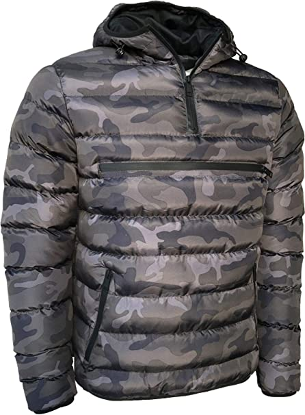 Mens Padded Camouflage Hooded Jacket Full Zip Camo Casual Winter Coat S XL