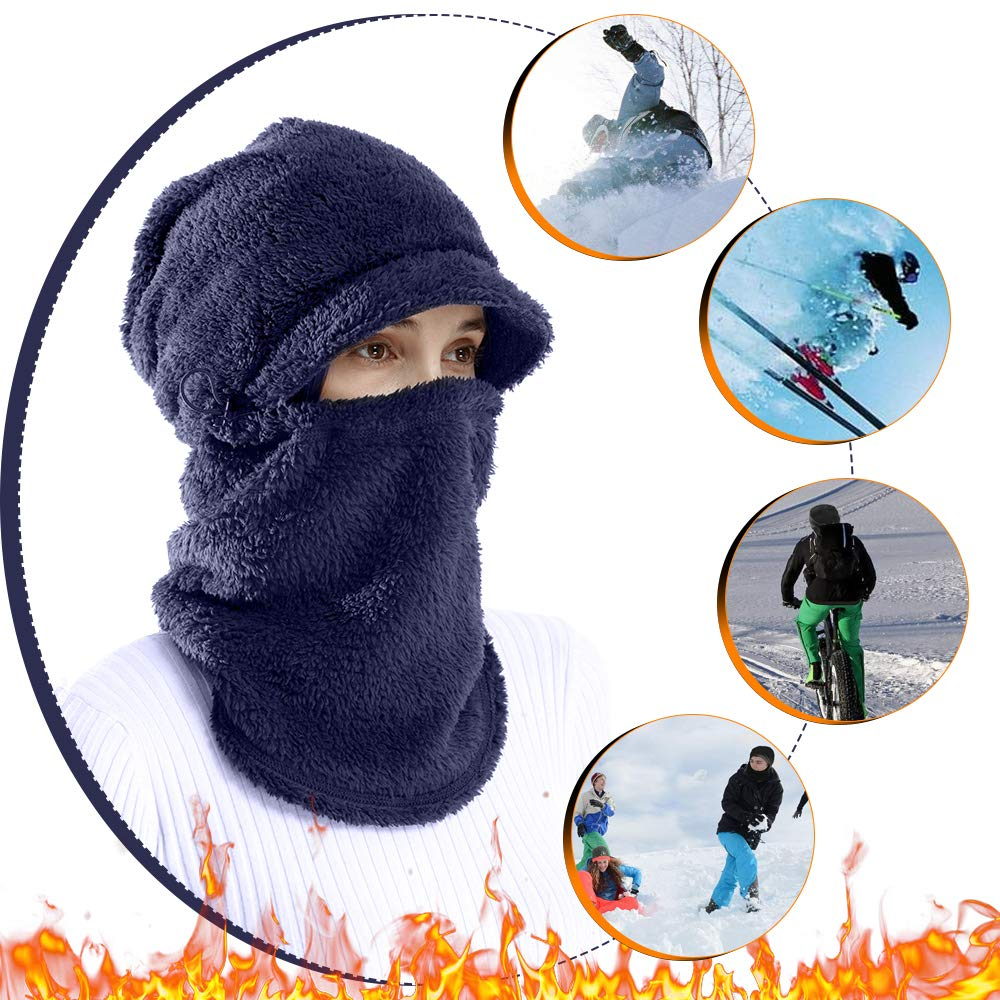 AblerV Balaclava Men Women Winter Hat Scarf Set Windproof Ski Mask Winter Warmer Protective Headgear Wind Resistant Cap, Ski Face Mask Hat Outdoor Sports Cycling Motorcycle Dark Blue by AblerV (Image #7)