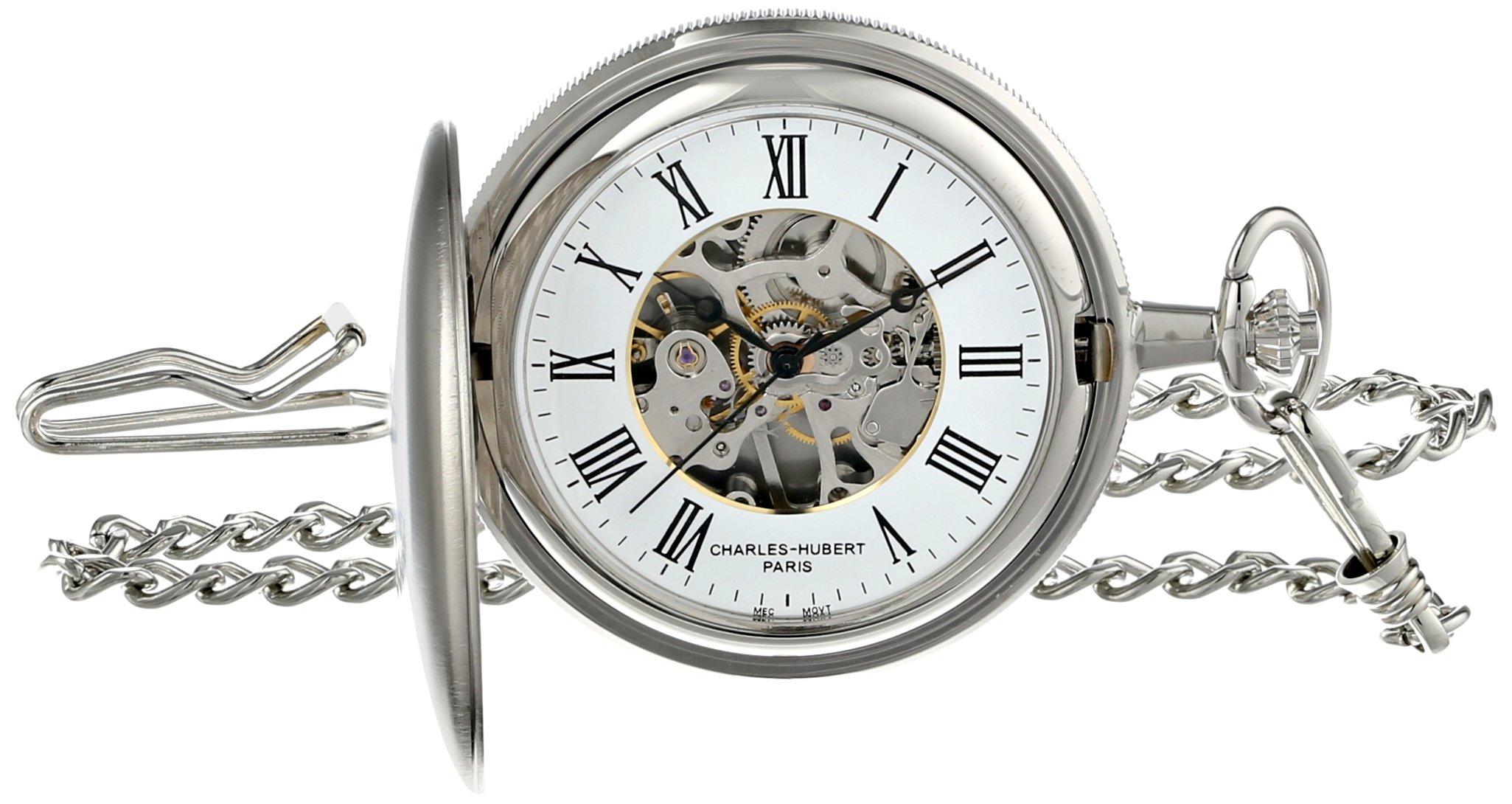 Charles-Hubert, Paris Satin Finish Mechanical Pocket Watch by CHARLES-HUBERT PARIS