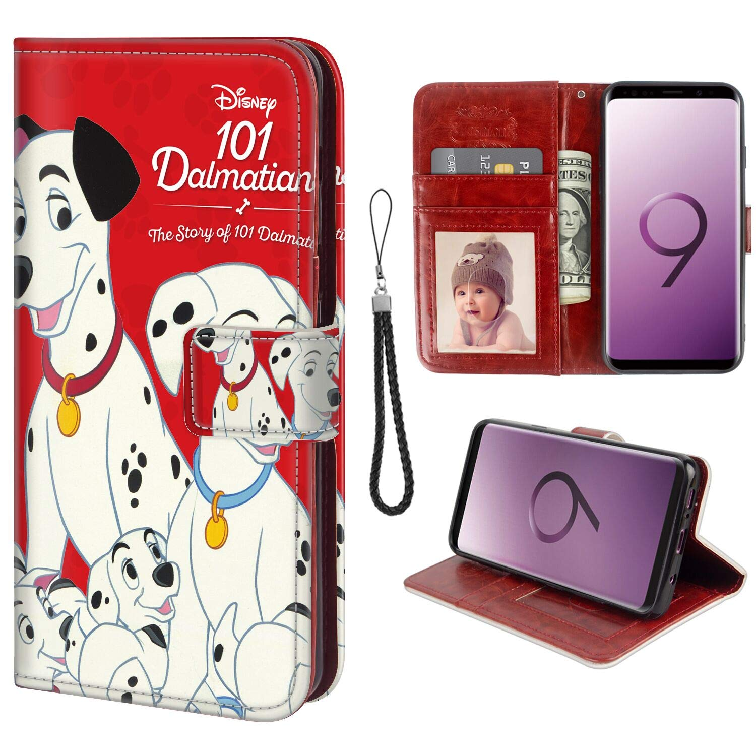 DISNEY COLLECTION Compatible Samsung Galaxy S9 Wallet Case with 101 Dalmatians Pattern Design Magnetic Closure Folio Flip with Card Holder and Wrist Strap