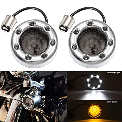 """PBYMT 2"""" Front Turn Signal Light 1157 Running Light LED Bulb Smoke Lens Compatible for Harley Touring Softail Street Glide Road King 1986-2020: Automotive"""