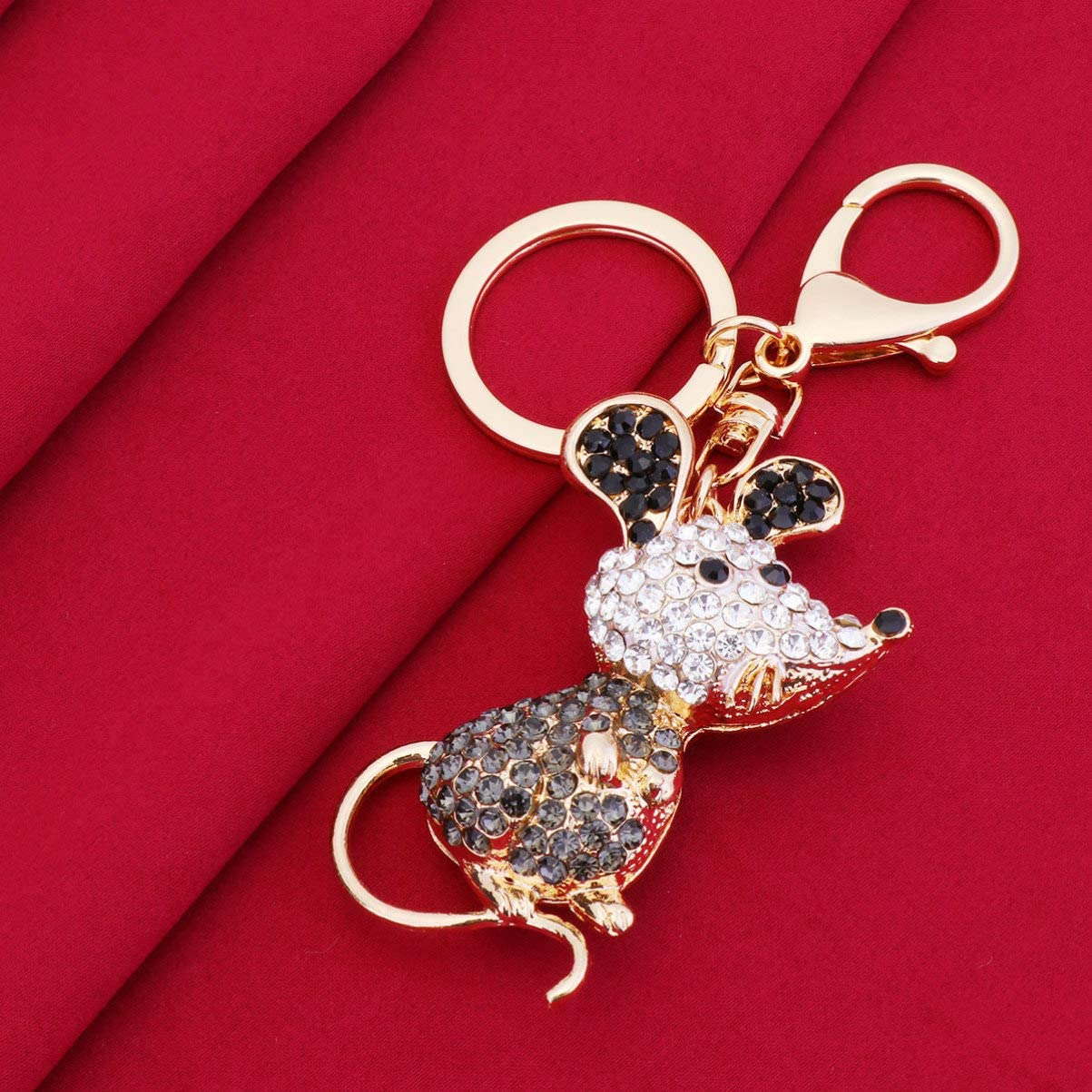 Amosfun Mouse Rat Keychain Keyring Crystal Rhinestone Keyring Alloy Chinese Zodiac Charms Keychain Happy Lunar New Year Party Gifts for Kids Woman Black 1