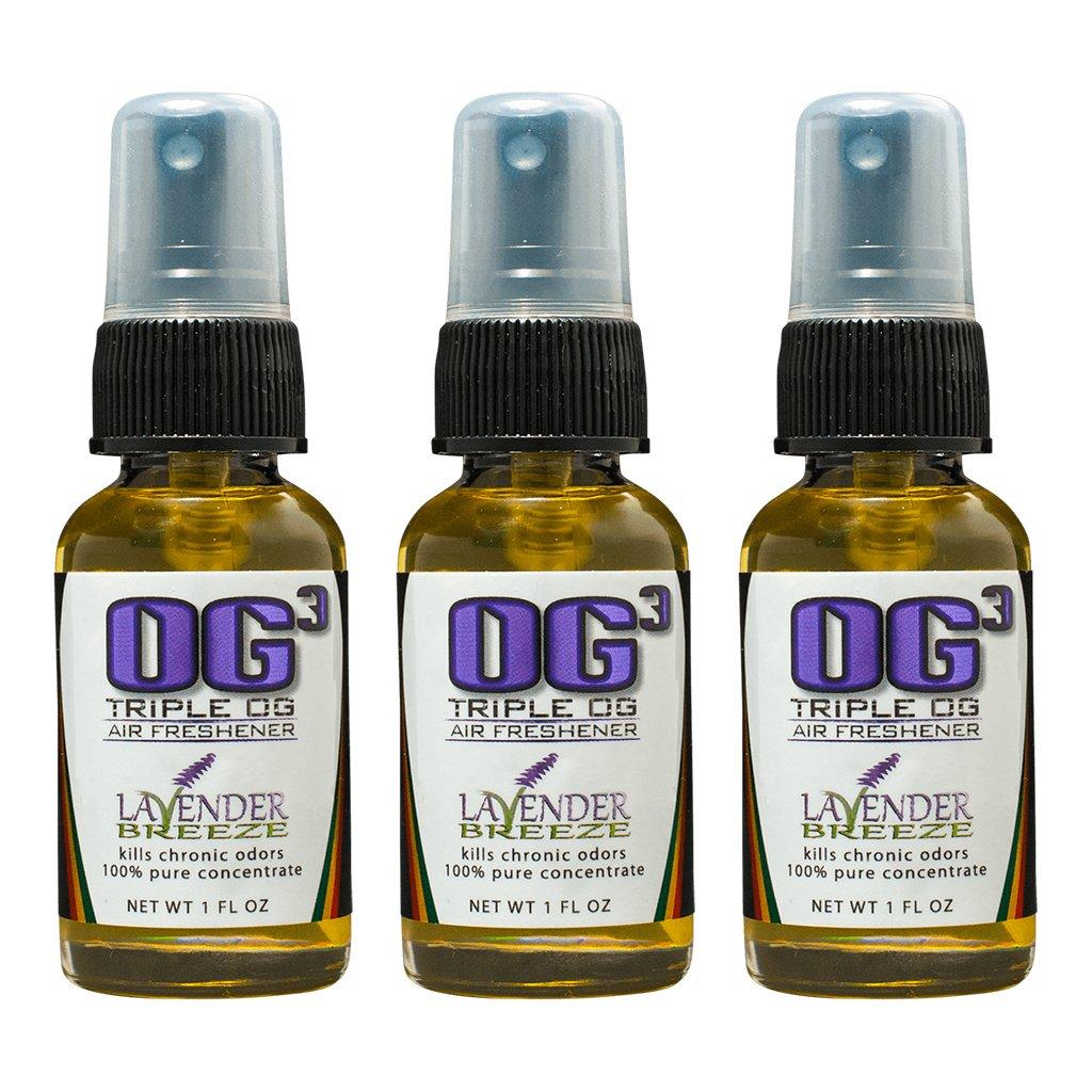 Triple OG 3 Pack - Super Concentrated Car Air Freshener - Room Spray - Toilet Spray - 1 oz Travel Size (Lavender Breeze)