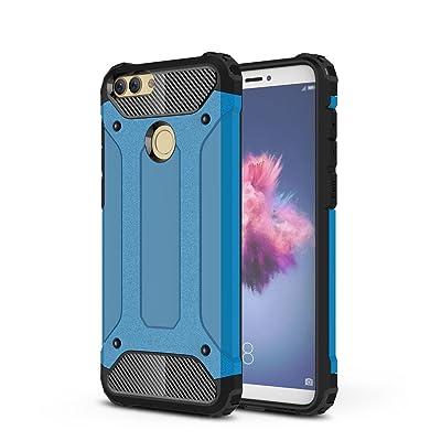 Rockwey® Huawei P Smart Funda,TPU+PC,Concha a prueba de golpes,duradera,perfecta partido Huawei P Smart(Azul)