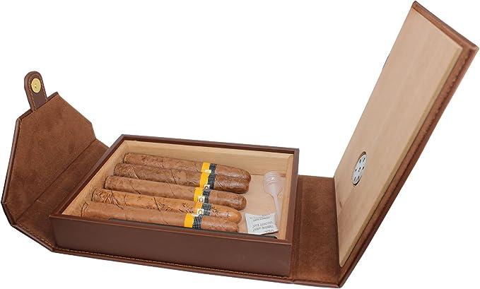 humidor port/átil de viaje cuero de cedro caja de cuero forrado de madera 2 palos caja de regalo para hombres pitillera 3 palos negro ble para la oficina Nuevo cl/ásico humidificador port/átil de puros