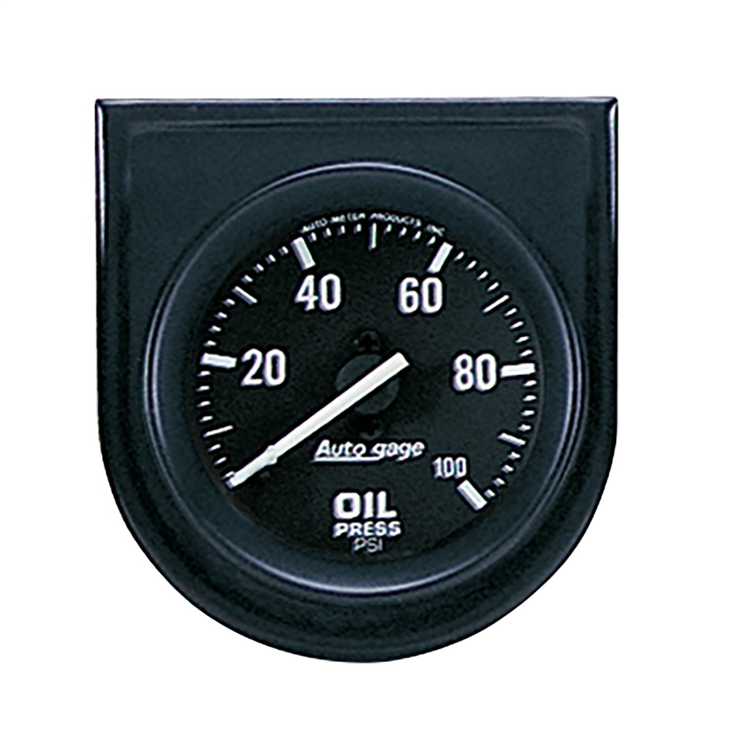 Auto Meter 2332 Auto Gage Black 2-1/16' 0-100 PSI Mechanical Individual Steel Panel Oil Pressure Gauge