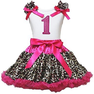 Cumpleaños 1st camiseta caliente rosa Leopardo Pettiskirt ...
