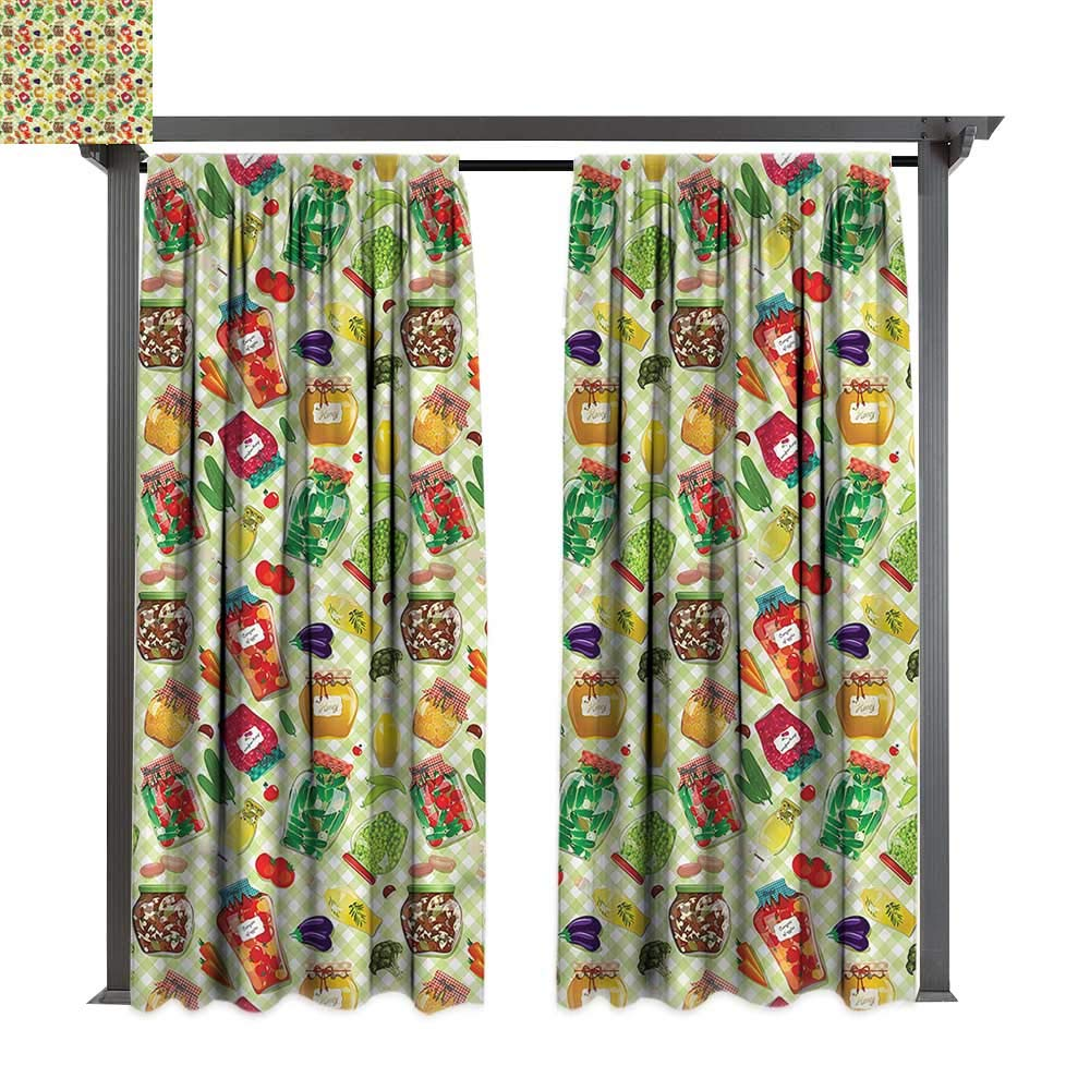 cobeDecor Outdoor Curtain Kitchen Foods Glass Jars on Table for Lawn & Garden, Water & Wind Proof W72 xL84