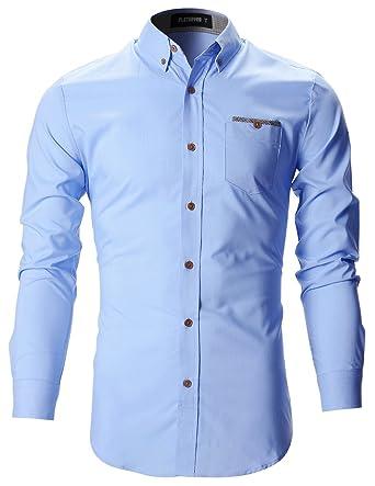 Flatseven Camisas Vestir Casual Slim Fit Forrada De Tela