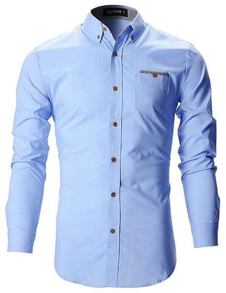 3ab2a6989b FLATSEVEN Camisas De Vestir Slim Fit Clásico Hombre  Amazon.es  Ropa y  accesorios