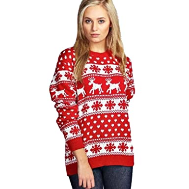 ed1046e919a New Ladies Reindeer Snowflakes Retro Vintage Xmas Pullover Ugly Christmas Sweater  Womens Festive Novelty Xmas Jumper Warm Christmas Tops US Size 6-12 Xmas ...