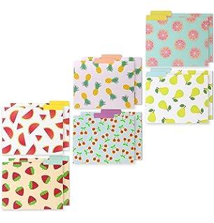 decorative assorted designer file folder set 6 different fruit designs letter size with