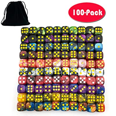 SmartDealsPro 100-Pack Two Color 12mm Round Angle Six Sided Dice Die with Free Pouch for Tenzi, Farkle, Yahtzee, Bunco or Teaching Math: Toys & Games