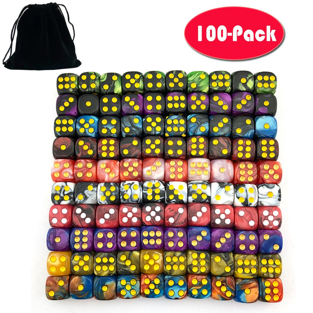 Smartdealspro 100-Pack Two Color 12mm Round Angle Six Sided Dice Die with Free Pouch for Tenzi, Farkle, Yahtzee, Bunco or Teaching Math by Smartdealspro