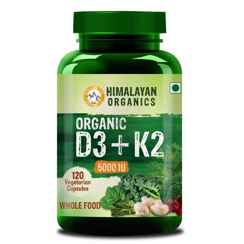 Himalayan Organics Organic D3 + K2 5000iu - 120 Veg Capsules