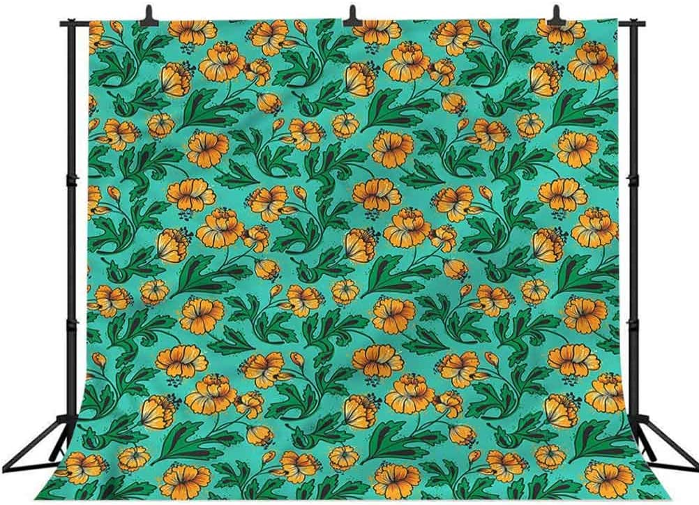 8x8FT Vinyl Photo Backdrops,Green and Orange,Blossoming Leaves Background Newborn Birthday Party Banner Photo Shoot Booth
