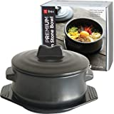 ElinCube Premium Korean Stone Bowl with Lid & Platter, Clay Pot for Cooking Hot Pot Dolsot Bibimbap and Soup