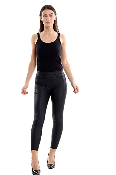 dda474c74fd152 Ex Newlook Ladies High Waist Leather Look Denim Super Skinny Jeggings Womens  Jeans Leggings: Amazon.co.uk: Clothing