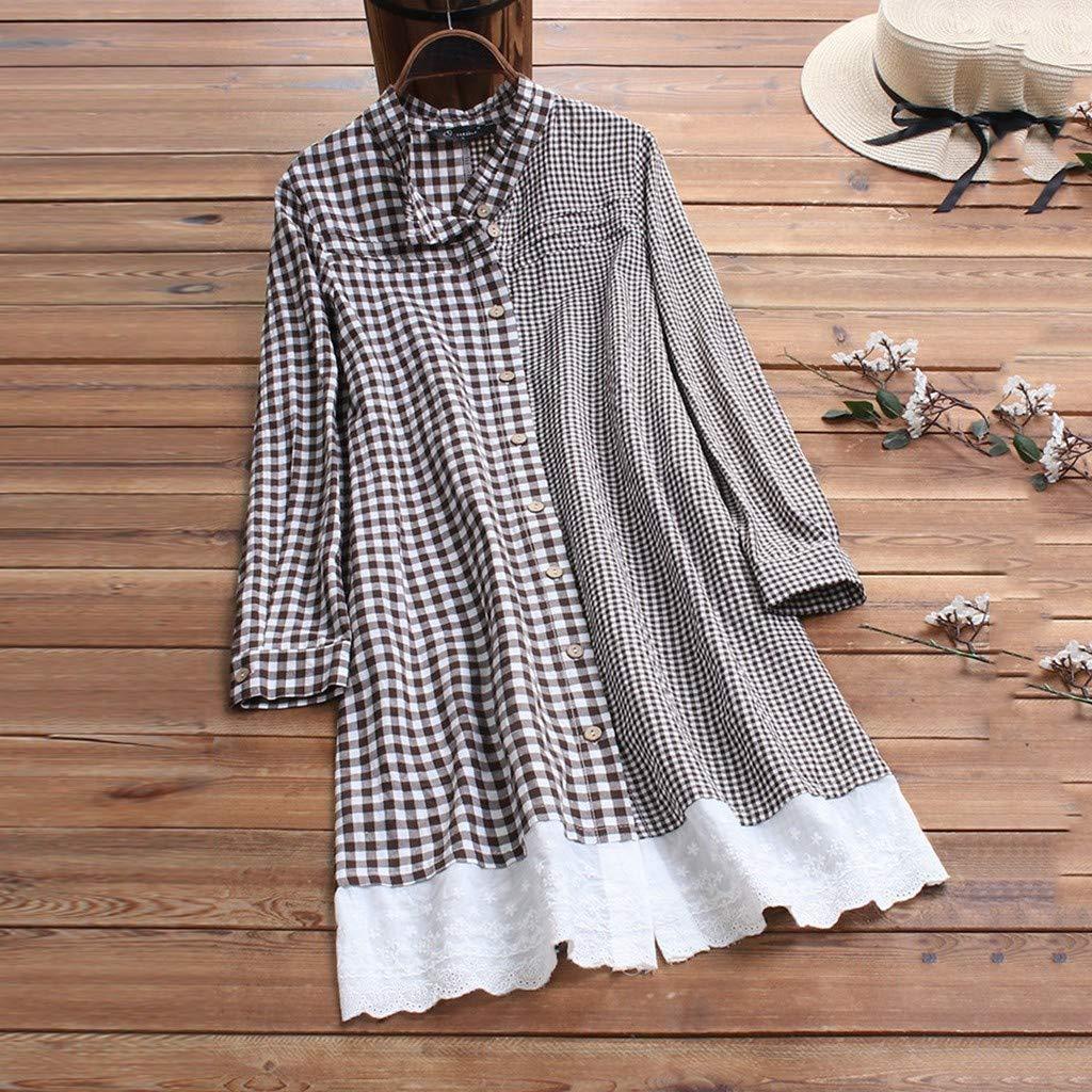 Amazon.com: Lazapa vestido a cuadros, cuello de botón ...