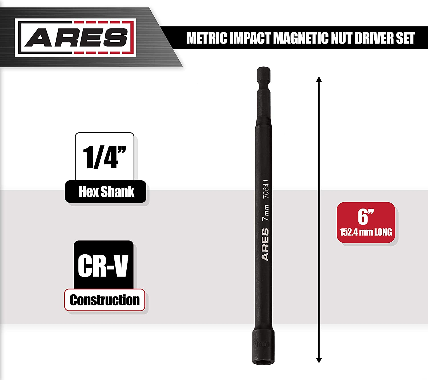 Impact Grade Nut Setter with Industrial Strength Magnet 10mm Magnetic Impact Nut Driver ARES 70644