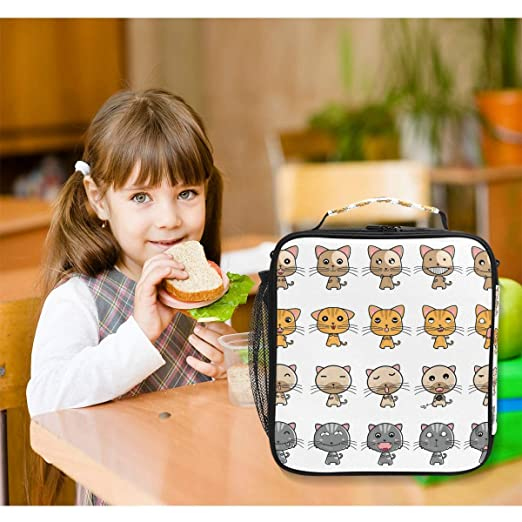 a13e5a5491a5 Amazon.com: HU MOVR Collection of Cat Expressions Lunch Bag Womens ...