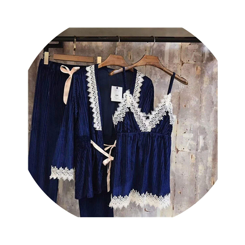 bluee Pajamas Women Sleepwear Pajamas Pants Suit Autumn Sleepwear 3 Pcs Suit Ladies for Women