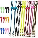 SENHAI 12Pcs Kids Glasses Strap & 6 Pair Silicone Ear Hooks, Adjustable Children Sports Eyeglass Straps Anti-slip Sunglasses Retainer for Boys Girls