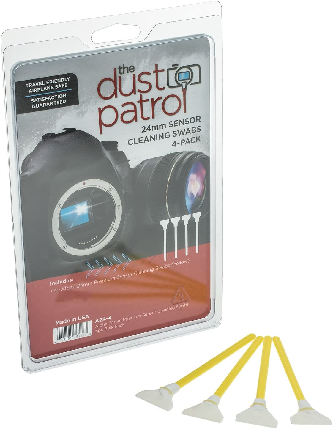 f/ür Kameras mit Vollformatsensoren Gelb 4er Pack The Dust Patrol Alpha 24mm Premium Sensorreinigungs-Swabs