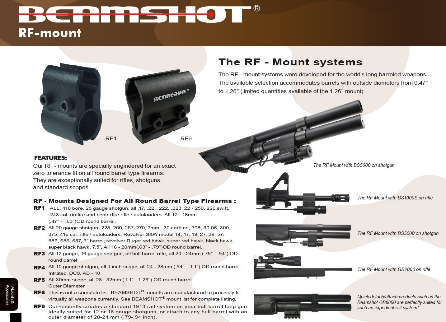 BEAMSHOT RF4/B - Laser Sight Mount for round barrel firearms by Beamshot