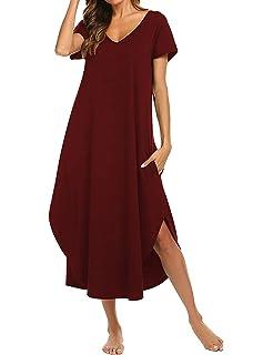 Odosalii Women s Nightdress Soft Loungewear V-Neck Plus Size Nightshirt  Calf Length Sleepwear 2f299635f