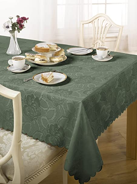 Luxury Damask Rose Tablecloth Dark Green 52x70 U0026quot; Inch Dining Room  Table Linen