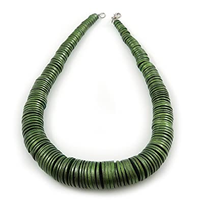 Avalaya Chunky Glitter Fern Green Wood Button Bead Necklace In Silver Tone - 50cm Length aEKFuT