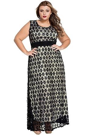 be63e5b8d4f Amazon.com  ZKESS Womens Sleeveless Lace Belted Evening Formal Maxi Dress  Plus Size XXX-Large Size Black  Clothing