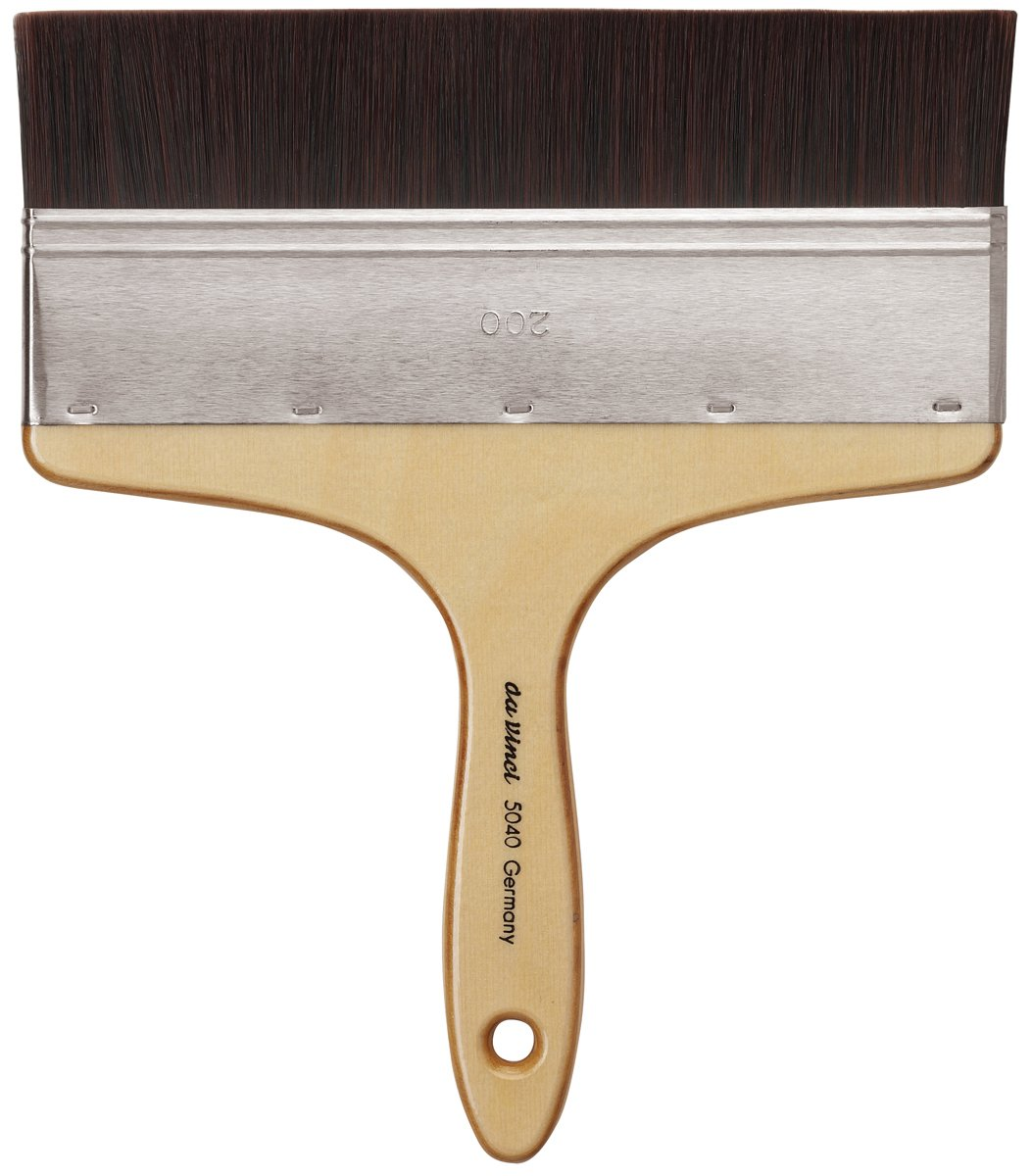 da Vinci Oil & Acrylic Series 5040 Top Acryl Paint Brush, Flat Mottler Red/Brown Synthetic with Plainwood Handle, Size 200