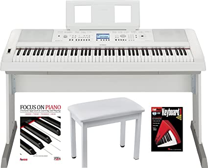 Yamaha DGX660W 88 Key Digital Piano (White) With Knox Piano Bench Dust  Cover And