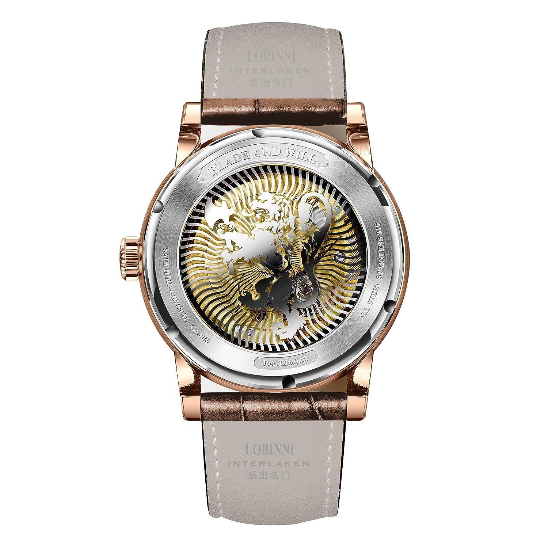 Date With Time Sun 50m Lobinni Business Watch Dial Men World Night Fshion Mechanical Automatic Wrist Week Waterproof 35RqAjL4