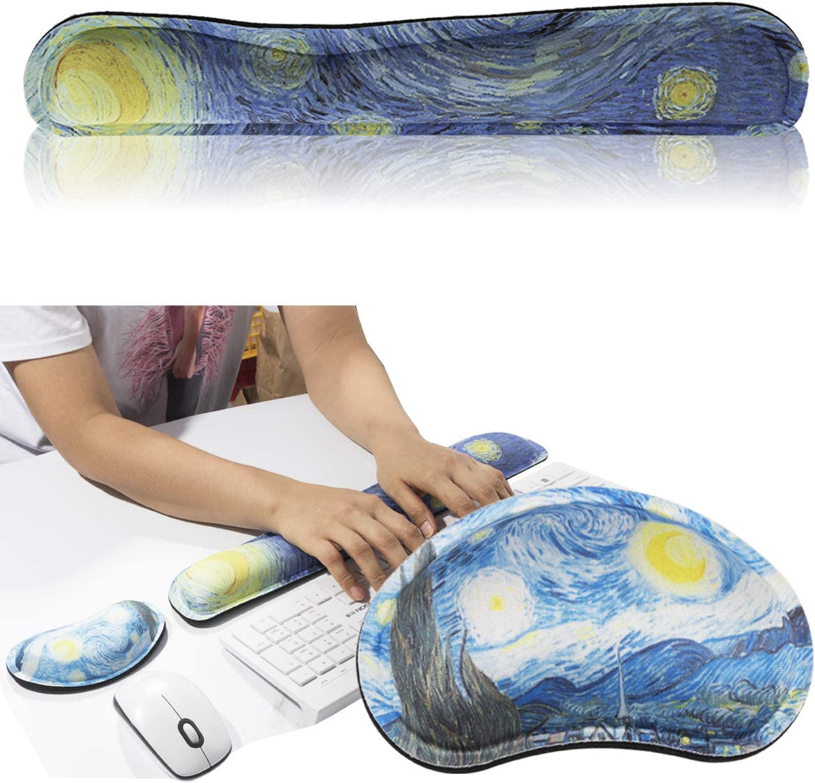 FF1 Memory Foam Mouse Pad Keyboard Wrist Rest Support - Ergonomic Support - for Office, Computer, Laptop - Premium Quality, Durable, Lightweight for Comfortably Typing Pain Relif and Repair