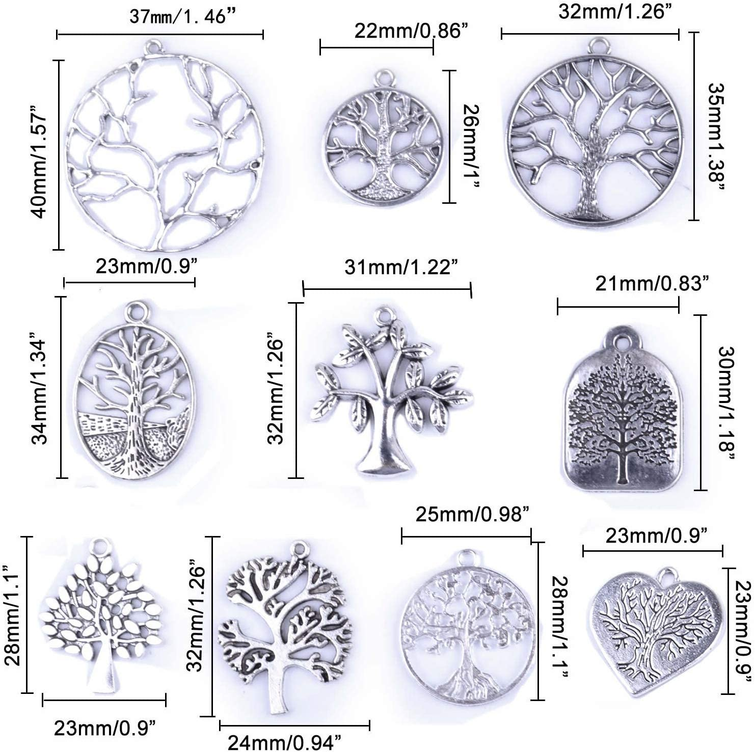 BronaGrand 40Pcs Tree of Life Charms Pendents for DIY Bracelet Necklace Earrings Antique Silver