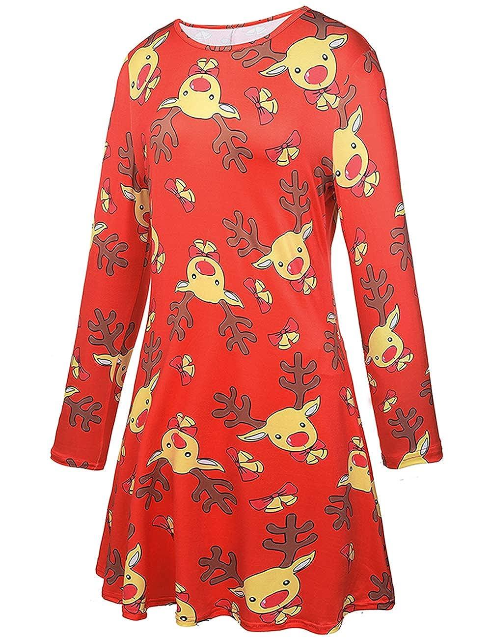Ruiyige Vestido de Navidad de Las Mujeres Copos de Nieve Encantadora Reno Vestido de Estampado de Santa Rojo 2XL: Amazon.es: Ropa y accesorios