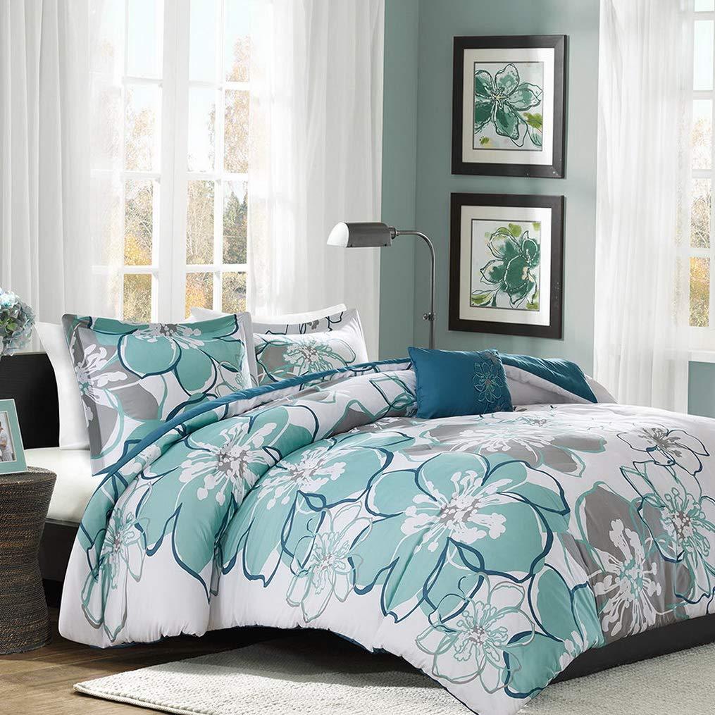 Kaputar Beautiful Chic Modern Blue Grey Seafoam Aqua Teal Flower Comforter Set New   Model CMFRTRSTS - 244   Twin
