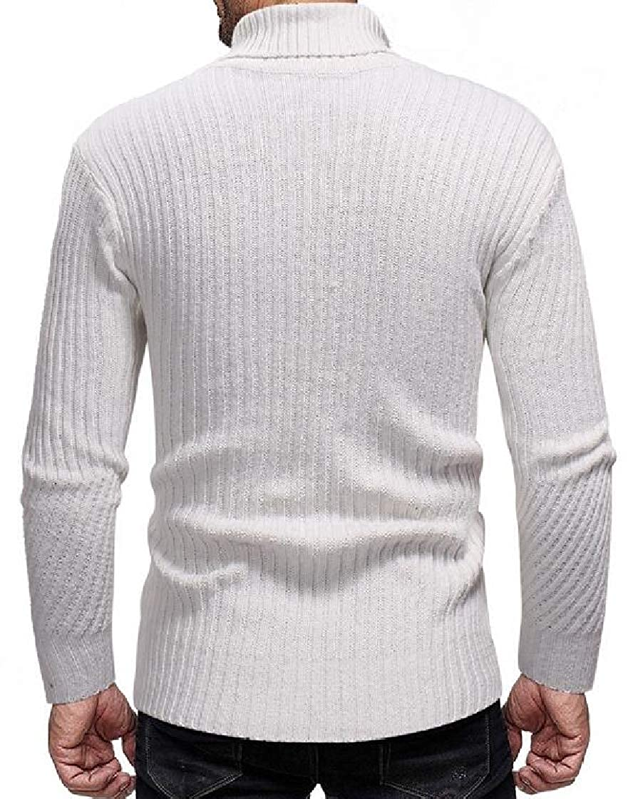 M/&S/&W Mens Elastic Thermal Slim High Neck Wool Blend Knitted Pullover Sweaters