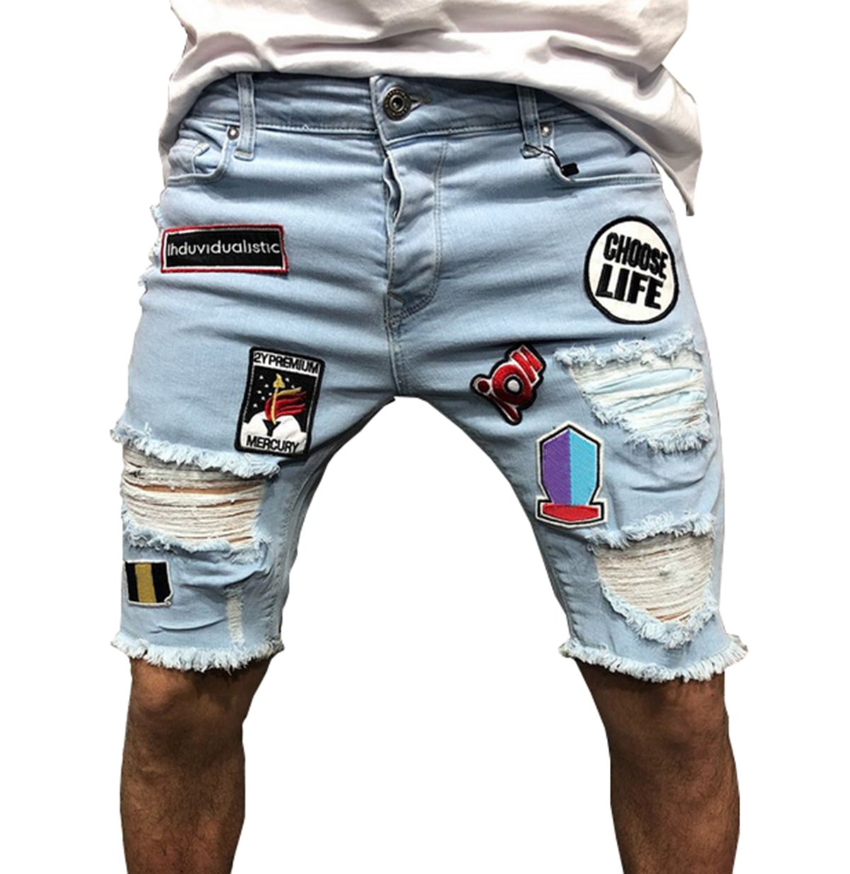 If Lovey Mens Destroyed Ripped Holes Denim Shorts Letter Printed Slim Fit Jeans Pant (S, Blue)