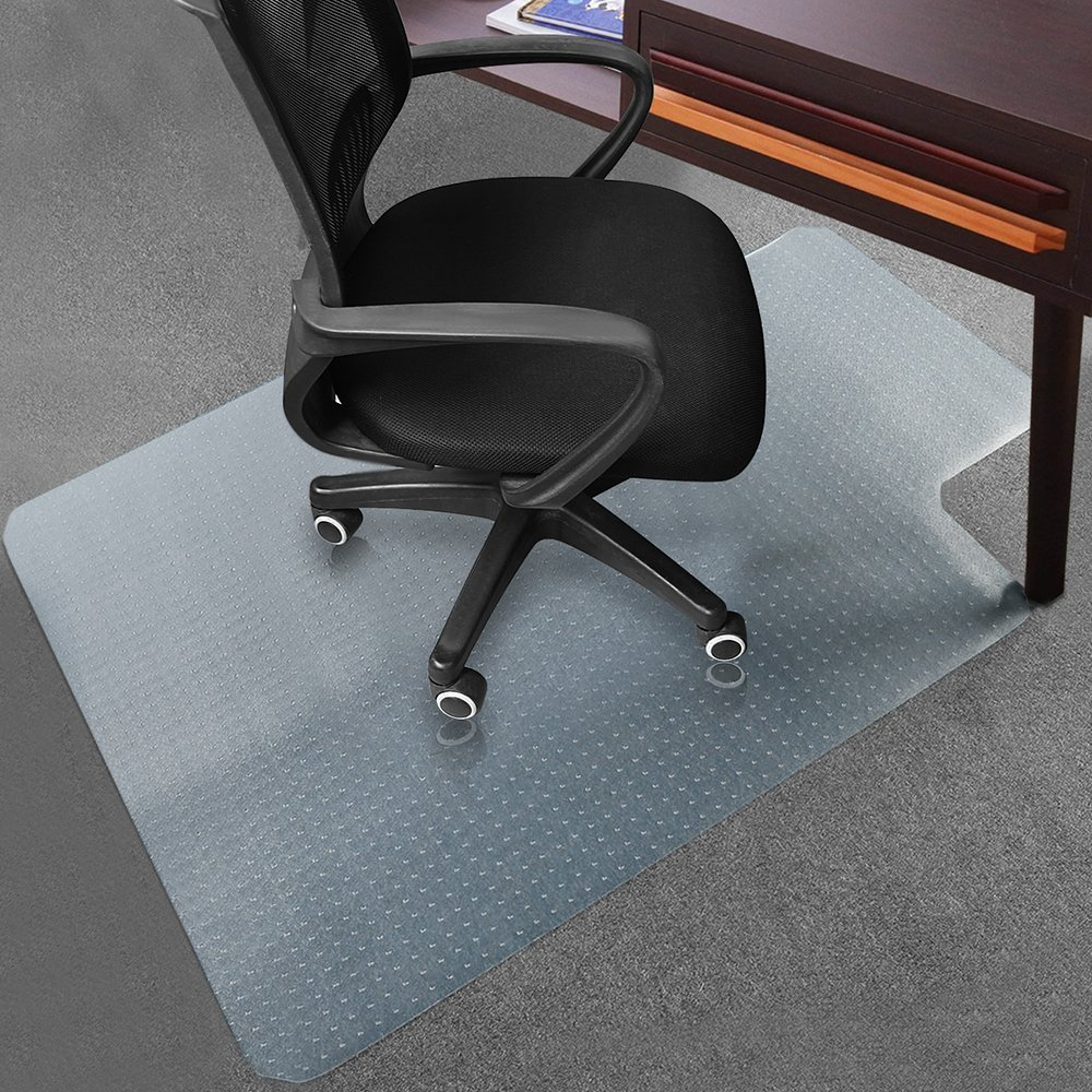 Office Desk Chair Mat for Carpet PVC Dull Polish Protection Floor Mat 44'' x 53'' Oversize - Transparent Heavy Duty Chair Mat Thick and Sturdy by Wizgree