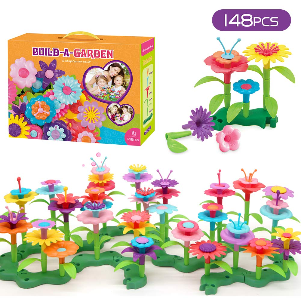 GEMEM Flower Garden Building Toys for 3, 4, 5, 6 Year Old Boy Girl Birthday Gifts, Build A Garden Arts and Crafts Playset 148 PCS