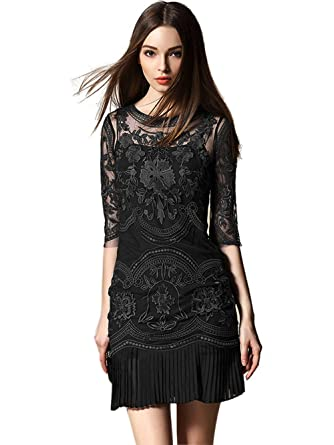 Tuliplazza Women's Floral Embroidery Tulle Lace Cocktail Prom Party Dress, Black,Small
