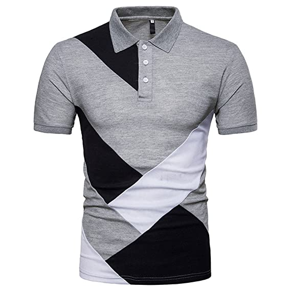 Mens Casual Slim Patchwork Short Sleeve Personality T Shirt Top Blouse Long Sleeve T Shirt Top