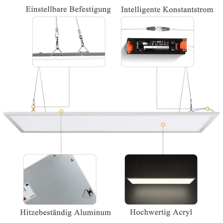 /Albrillo 36W 3420lm Pannello del LED Soffitto o Sospensione 600 * 600cm Plafoniera in Alluminio Designo Moderno e Sottile 6500K luce Bianco Freddo