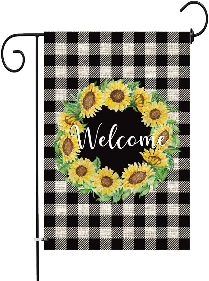 JOCACTI Sunflowers Welcome Peony Flower Garden Flag, 12 x 18 Inches Summer Fall Double Sided Burlap Yard Outdoor Indoor Decoration Supplies, with Rubber Stopper and Clear Anti-Wind Clip
