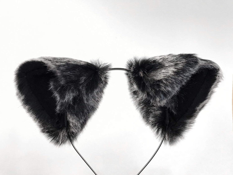 Cat ears Kitty Headwear Dark Warm Grey Black Inside Furry Animal Headband Costume Bow Bells
