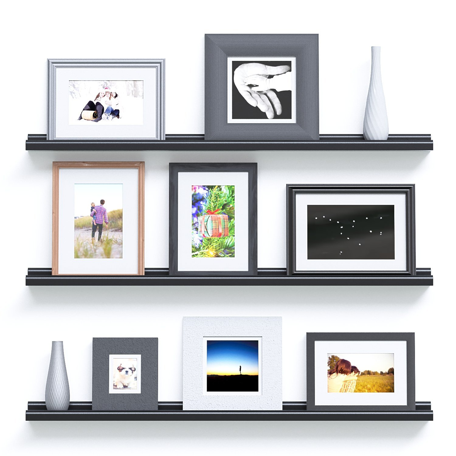 Wallniture Contemporary Floating Wall Shelf Ledge Picture Book Display Black 46 Inch Set of 2 by Wallniture (Image #3)